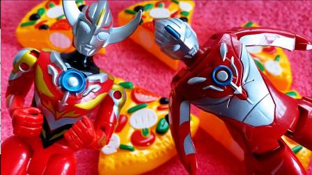 奥特曼拆奇趣蛋 欧布奥特曼爆炎形态披萨切切乐变奥特蛋变形玩具