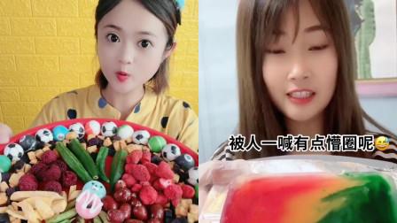 网红美女直播吃果蔬脆,配上巧克力一口脆甜,是我小时候的最爱