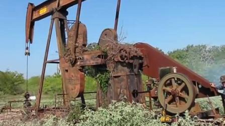 古老的磕头机长什么样你们见过么?动力源居然是柴油机