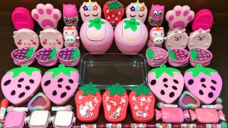 彩泥视频:粉红草莓 随意混合彩妆等东西加入无硼砂史莱姆 好玩
