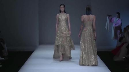 时装秀:金色纱裙,非常显高级的颜色,简约之中带着贵气!
