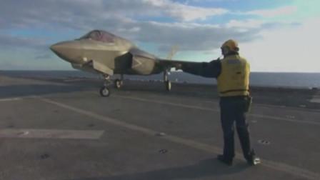 不需要弹射器,F-35B隐形战机在两栖攻击舰上垂直起降短距起飞