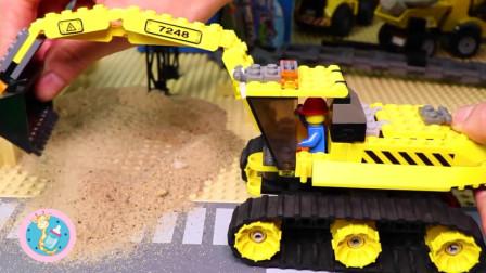 挖掘机警车道路清扫车吊车积木玩具 清障车认真工作中