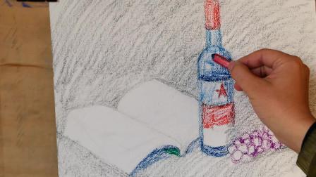 油画棒写生静物画,葡萄美酒和书,文艺和酒都不能少