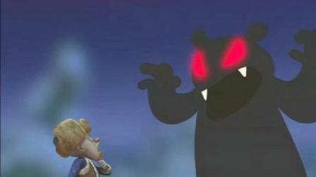 """熊出没:草丛里突然冒出一只""""怪兽"""",把光头强吓坏了,慌忙逃窜"""