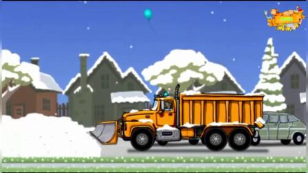 下雪了 铲雪车清理道路积雪