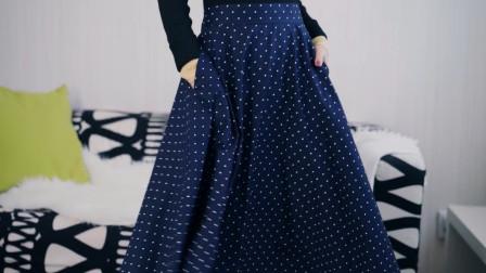 时尚达人这款波点半身裙温柔打扮,让人看呆了,简直比网红还要美