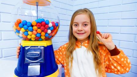 超有趣!萌宝小萝莉怎么有个超大的糖果机器?可是被谁偷走了?儿童亲子益智趣味游戏玩具故事