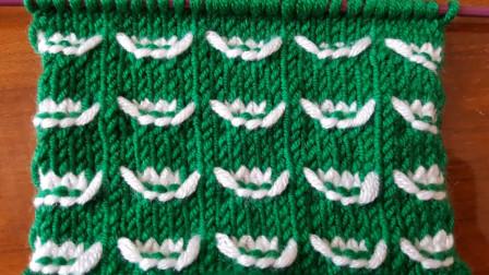 棒针提花花样系列,一款嵌入式小提花编织教程,看着令人赏心悦目