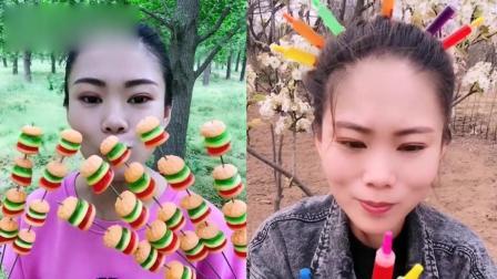 小姐姐直播吃:彩色零食、迷你汉堡糖,一口超过瘾,是我向往的生活