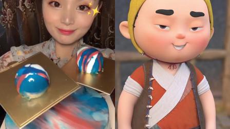 美女自制创意吃播,迷你小星空慕斯蛋糕球,一口一个看着太馋人了,是仙女们的最爱!