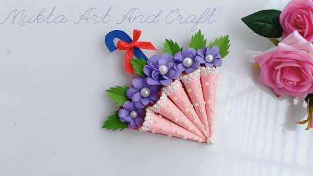 纸艺手工——用卡纸做一张漂亮的立体花伞贺卡