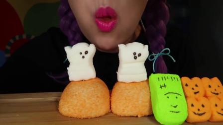吃货小姐姐:小姐姐吃播万圣节大南瓜棉花糖,非常可爱!