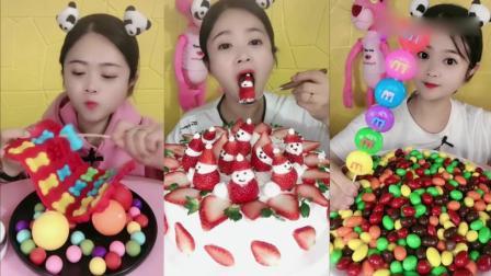 美女吃播:草莓雪人、巧克力豆,味道太赞了