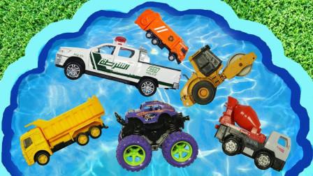 玩具汽车总动员,挖掘机、消防车、警车,一起学单词