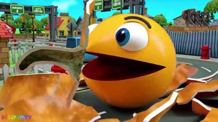 吃豆人太过分了吧?它怎么把汽车全给压扁了?吃豆人游戏