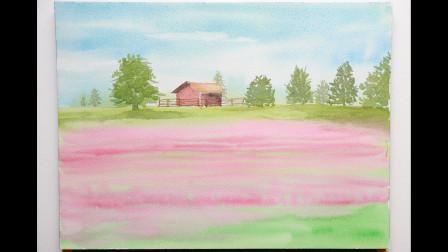 【水彩教程慢速版】 早春的田园景色 简单水彩画新手教程