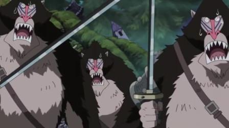 狒狒军团欺负索大,当听到鷹眼的脚步声后全都逃窜