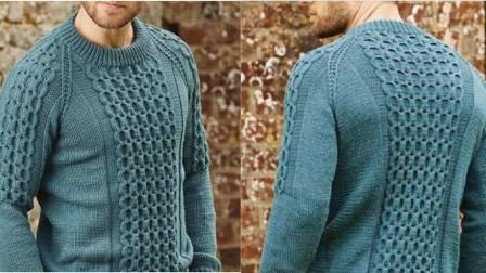简单针法织出漂亮花样,一款大小蜂窝针编织教程,可以织男士毛衣