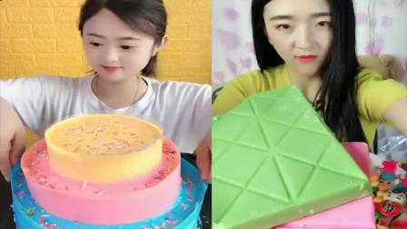美女试吃:彩色爆浆蛋糕、棒棒糖,是我童年向往的生活