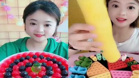 美女试吃:彩色小树莓果冻,看着真过瘾,是我向往的生活