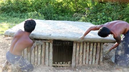 农村小哥手工挖地下豪宅,打造两层小别墅,钻进去一看太惊艳了!