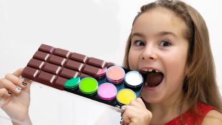 真皮!萌宝小萝莉的化妆品为何都变成巧克力呢?趣味玩具故事
