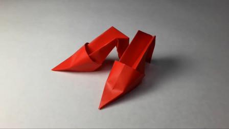 折纸手工——用一张纸折的尖头高跟鞋