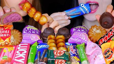 """韩国ASMR吃播:""""奥利奥饼干+蛋糕+巧克力+棉花糖+草莓巧克力"""",听这咀嚼音,吃货姐妹花吃得真馋人"""