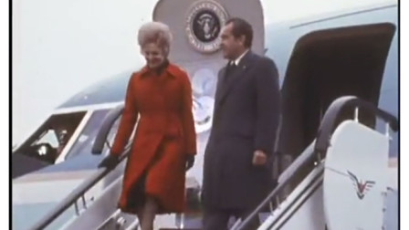 1972年尼克松访华  第一站到达上海 受到热烈欢迎