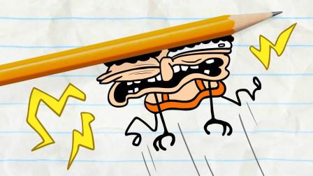 阿呆有没有把小偷捉回来救出小美呢?铅笔画小人游戏