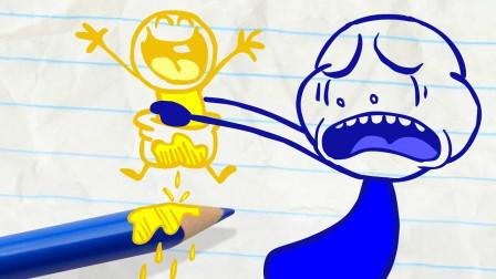 阿呆想要抓住小怪兽他能抓到小怪兽吗?铅笔画小人游戏