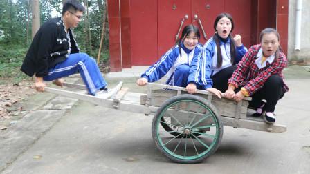 童年:田田和伙伴用架车子玩跷跷板,没想如花老师的加入让过程更加有趣