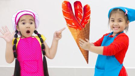 萌宝玩具:好搞笑!小萝莉做的冰淇淋为何还加上热狗?