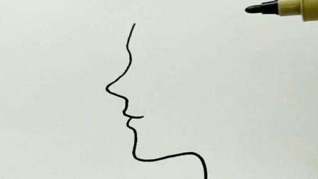 侧脸简笔画
