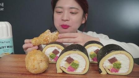 韩国吃播小姐姐,吃紫菜包饭卷蛋糕,面包炸鸡腿,大口吃得太香了
