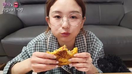 韩国真香吃播:今天在家做韩式经典街边小吃烤吐司超级美味呢!