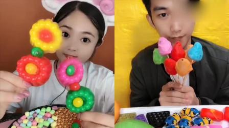 萌姐吃播:彩色小果冻,各种口味任意选,是我向往的生活