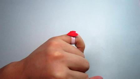 手工折纸爱心戒指,简单易学还超漂亮