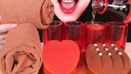 ☆ Abbey ☆ 草莓果冻杯+可乐、提拉米苏慕斯蛋糕、心形草莓菠萝慕斯蛋糕、草莓巧克力毛巾卷蛋糕 食音咀嚼音(新)