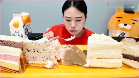 《韩国农村美食》吃播卡妹,吃奶油小蛋糕,表情完美诠释好吃!