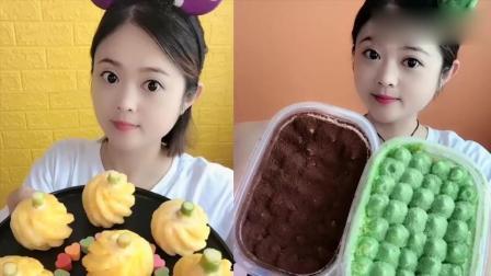 小姐姐直播吃:彩色菠萝糖、抹茶奶油,各种口味任意选,是我向往的生活