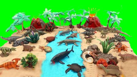 手工搭建火山爆发海洋动物和恐龙世界