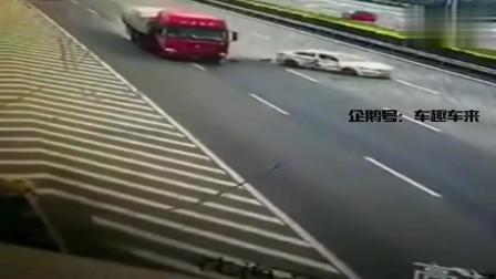 大摇大摆把车停在高速路快车道上,6秒后,大货车司机干得漂亮
