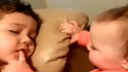 8个月妹妹吵醒正在熟睡的哥哥,下一秒哥哥的反应,实在太萌了!