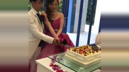 日本婚礼现场,结婚必须切蛋糕,这是什么习俗,还真是特别