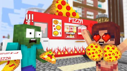 小君姐姐我的世界 与小伙伴吃披萨比赛,生存之战?