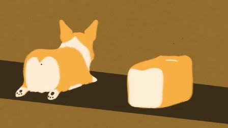 小狗柯基和一大块方形吐司面包共同趴在了传送带上,真是傻傻分不清楚