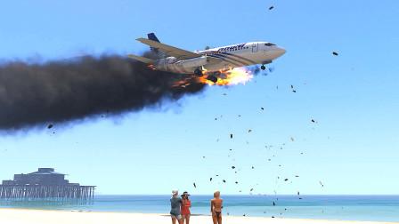 模拟飞行-波音737强制起飞之后着火,紧急迫降海滩