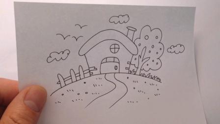 风景简笔画:山顶上的漂亮小屋